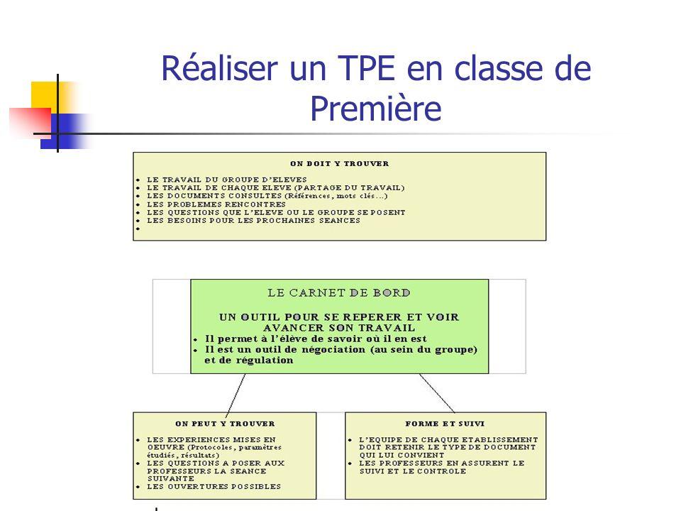 Réaliser un TPE en classe de Première Un outil pour le suivi : le Carnet de bord
