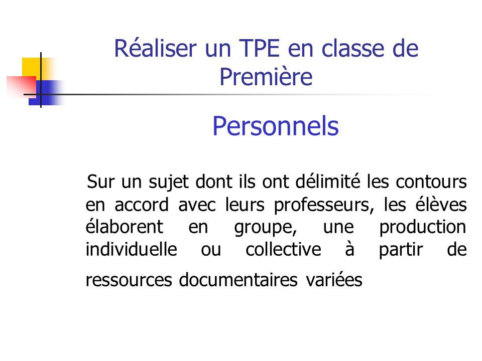 Réaliser un TPE en classe de Première Passer du thème au sujet La problématisation 1.