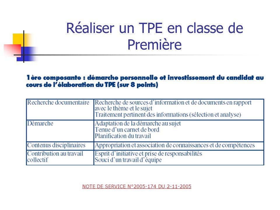 Réaliser un TPE en classe de Première La notation prend en compte pour chacun des élèves du groupe : 1) Lévaluation du travail effectué, (8/20). La no