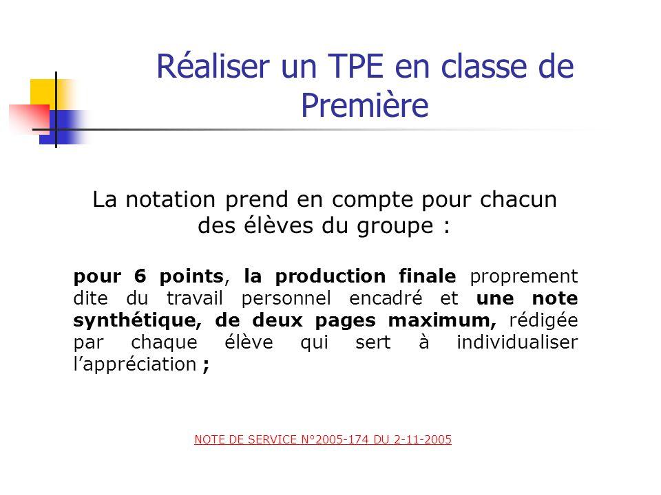 Réaliser un TPE en classe de Première La notation prend en compte pour chacun des élèves du groupe : 2) Une épreuve orale (12/20) NOTE DE SERVICE N°20
