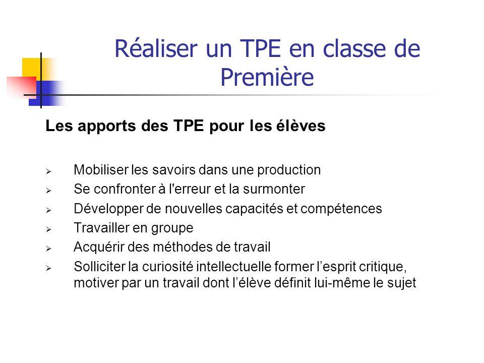 Réaliser un TPE en classe de Première accompagnée dune SYNTHESE circonstanciée Un exemple de TPE :