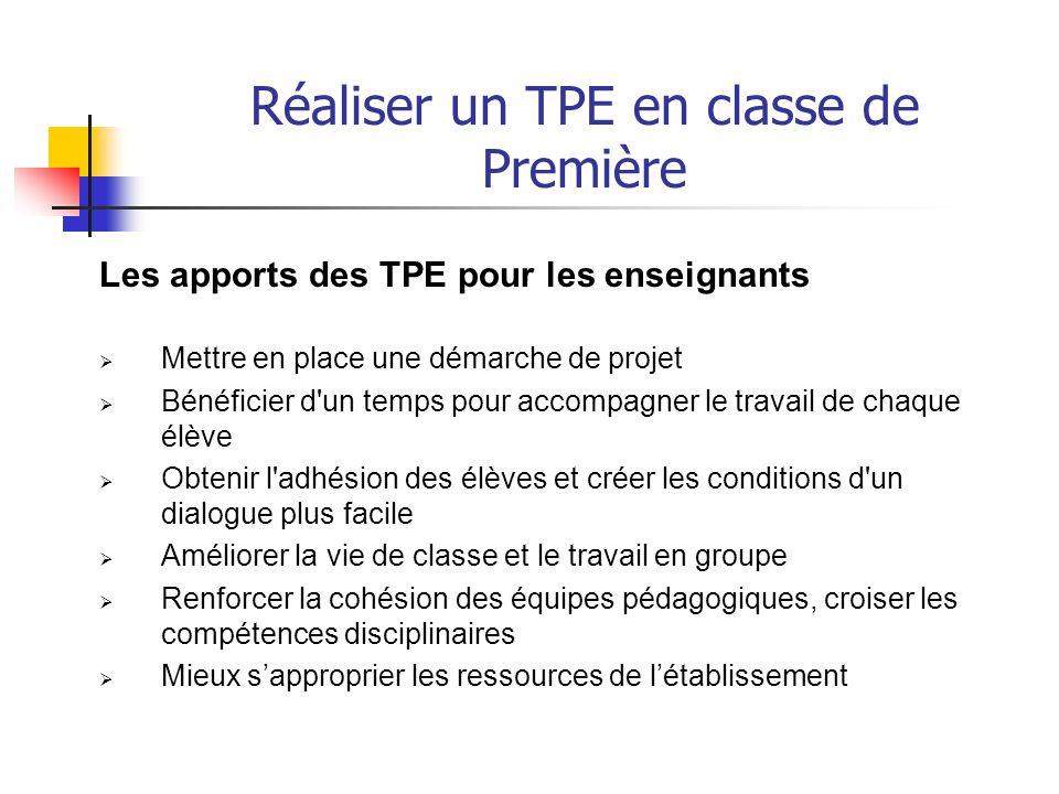 Réaliser un TPE en classe de Première Sites internet Site Educol : http://eduscol.education.fr/D0050/LXTACC01.htm Lyon http://www2.ac-lyon.fr/enseigne/reformes/lycees/tpe/aide_tpe/problematique.html carnet de bord http://www2.ac-lyon.fr/enseigne/reformes/lycees/tpe/aide_tpe/carnet/index_carnet.html Lille http://www2.ac-lille.fr/reussite-lycee/tpe.htm Lille problématique http://www2.ac-lille.fr/reussite- lycee/TPE%20general/productions/TPE%20LA%20PROBLEMATISATION.pdf#search=%22tpe%2 0problematique%22 http://www2.ac-lille.fr/reussite- lycee/TPE%20general/productions/TPE%20LA%20PROBLEMATISATION.pdf#search=%22tpe%2 0problematique%22 Caen