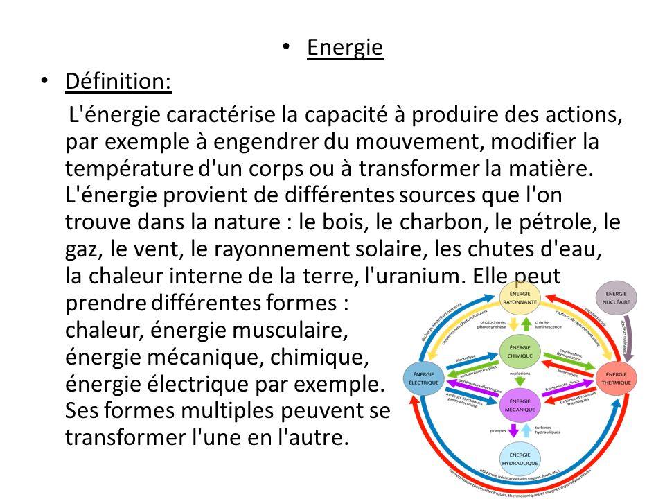 Energie Définition: L énergie caractérise la capacité à produire des actions, par exemple à engendrer du mouvement, modifier la température d un corps ou à transformer la matière.