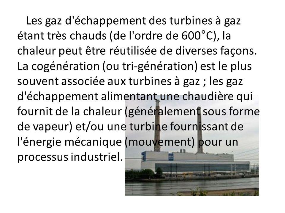 Les gaz d échappement des turbines à gaz étant très chauds (de l ordre de 600°C), la chaleur peut être réutilisée de diverses façons.