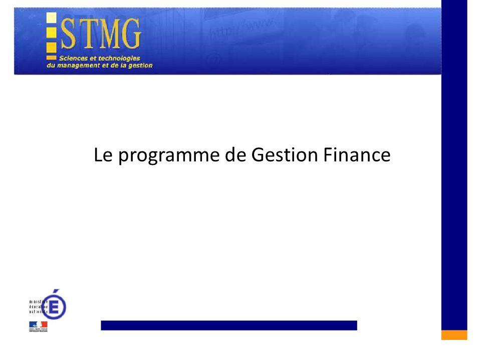 CONSTRUIRE UNE REPONSE A LAQUESTION DE GESTION :CONSTRUIRE UNE REPONSE A LAQUESTION DE GESTION : Le programme de Gestion Finance
