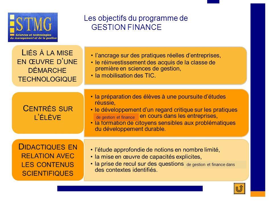 LES OBJECTIFS DU PROGRAMME DE GESTION FINANCE LES OBJECTIFS DU PROGRAMME DE Les objectifs du programme de GESTION FINANCE de gestion et finance de ges