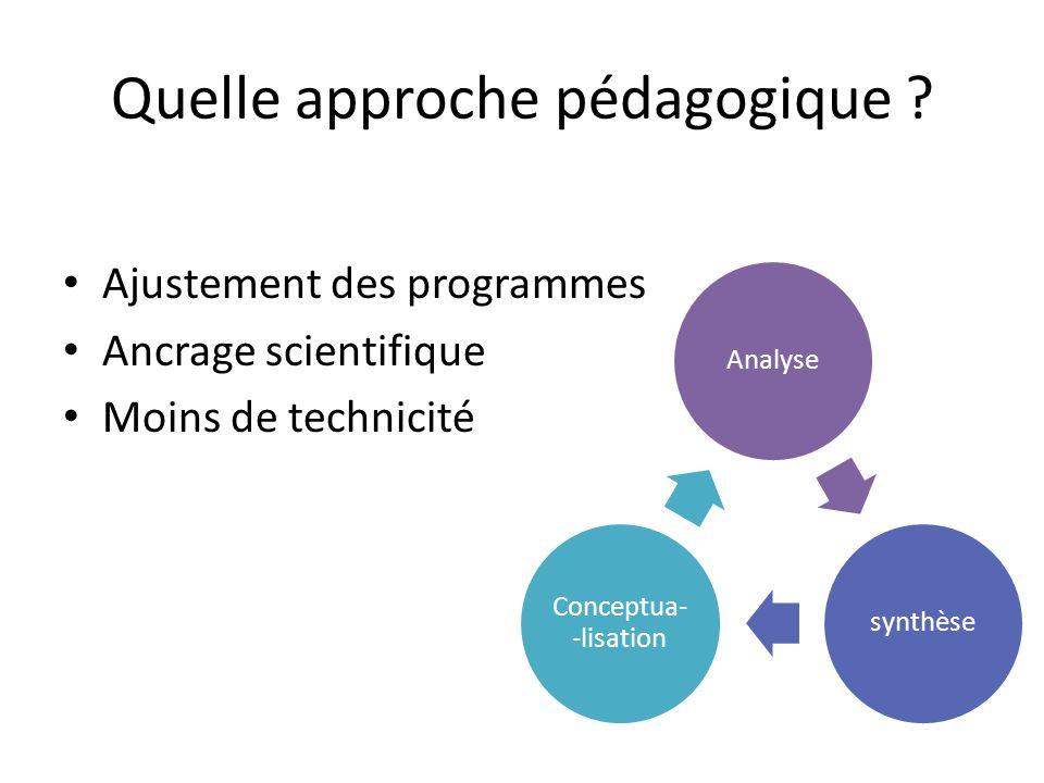 Quelle approche pédagogique ? Ajustement des programmes Ancrage scientifique Moins de technicité Analysesynthèse Conceptua- -lisation