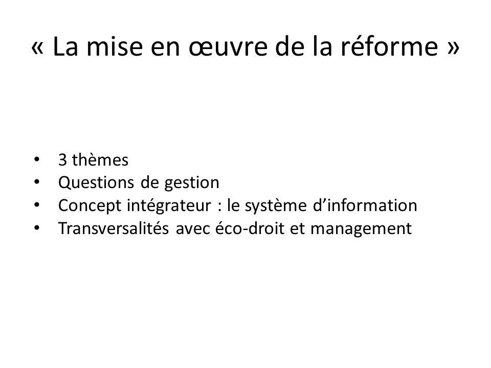 « La mise en œuvre de la réforme » 3 thèmes Questions de gestion Concept intégrateur : le système dinformation Transversalités avec éco-droit et manag