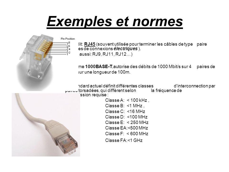 Exemples et normes câble dit: RJ45 (souvent utilisée pour terminer les câbles de type paire torsadé et comporte 8 broches de connexions électriques ).