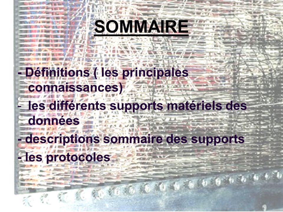 SOMMAIRE - Définitions ( les principales connaissances) -les différents supports matériels des données - descriptions sommaire des supports - les protocoles