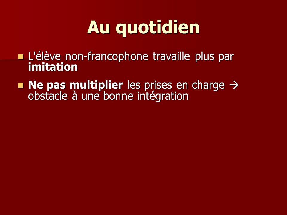 Au quotidien L élève non-francophone travaille plus par imitation L élève non-francophone travaille plus par imitation Ne pas multiplier les prises en charge obstacle à une bonne intégration Ne pas multiplier les prises en charge obstacle à une bonne intégration