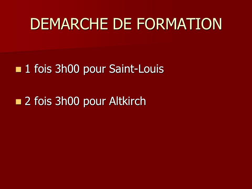 DEMARCHE DE FORMATION 1 fois 3h00 pour Saint-Louis 1 fois 3h00 pour Saint-Louis 2 fois 3h00 pour Altkirch 2 fois 3h00 pour Altkirch