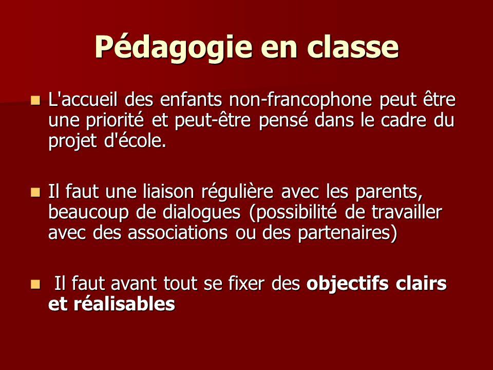 L accueil des enfants non-francophone peut être une priorité et peut-être pensé dans le cadre du projet d école.