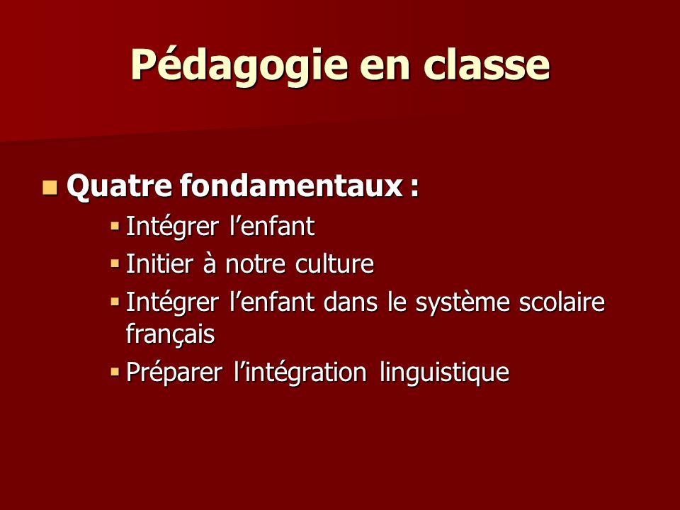 Quatre fondamentaux : Quatre fondamentaux : Intégrer lenfant Intégrer lenfant Initier à notre culture Initier à notre culture Intégrer lenfant dans le système scolaire français Intégrer lenfant dans le système scolaire français Préparer lintégration linguistique Préparer lintégration linguistique
