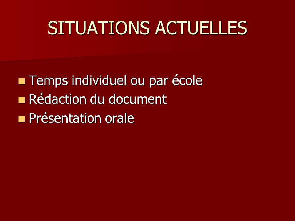 SITUATIONS ACTUELLES Temps individuel ou par école Temps individuel ou par école Rédaction du document Rédaction du document Présentation orale Présentation orale
