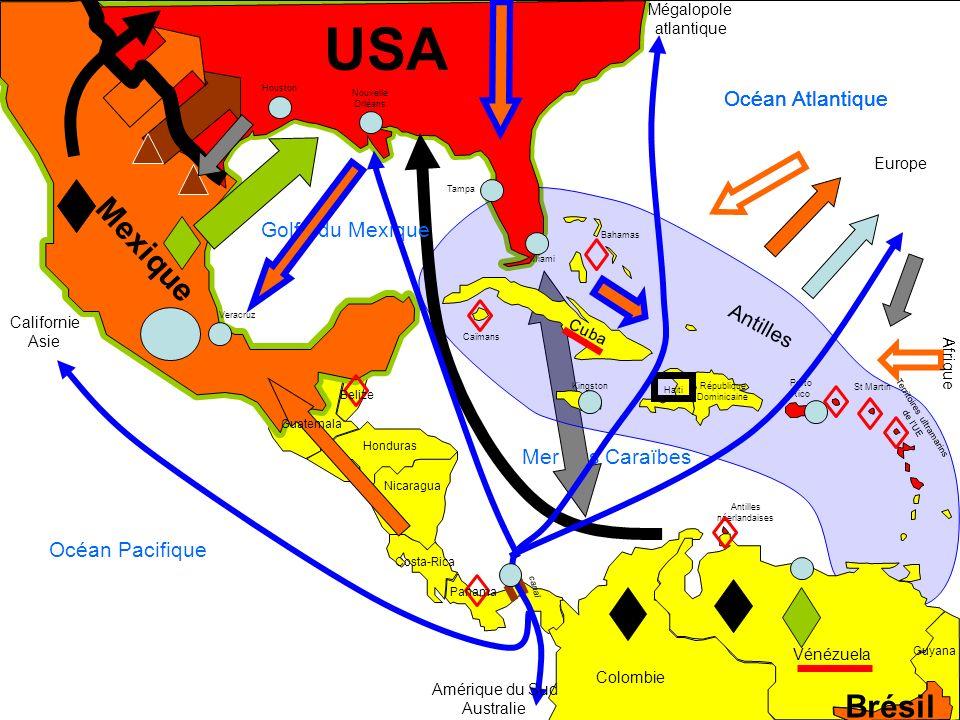 Mer des Caraïbes USA Porto Rico Territoires ultramarins de lUE Antilles néerlandaises Brésil Mexique République Dominicaine Haiti Cuba Vénézuela Colom