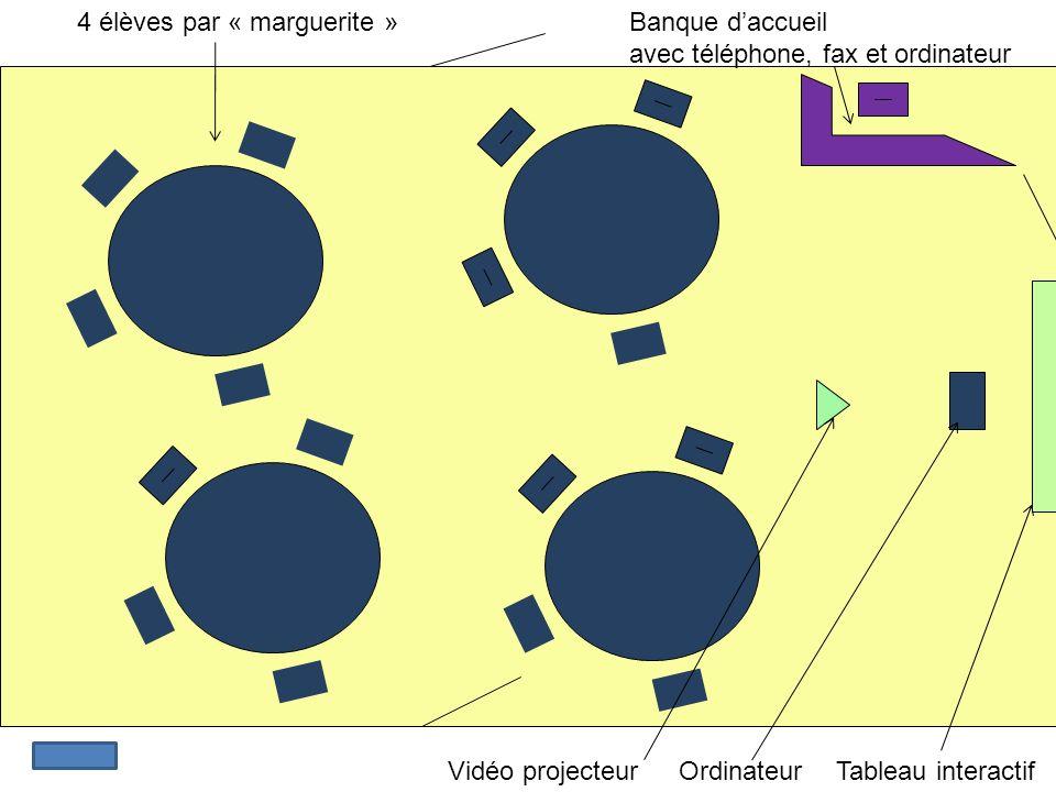 4 élèves par « marguerite » Vidéo projecteur Banque daccueil avec téléphone, fax et ordinateur Tableau interactifOrdinateur