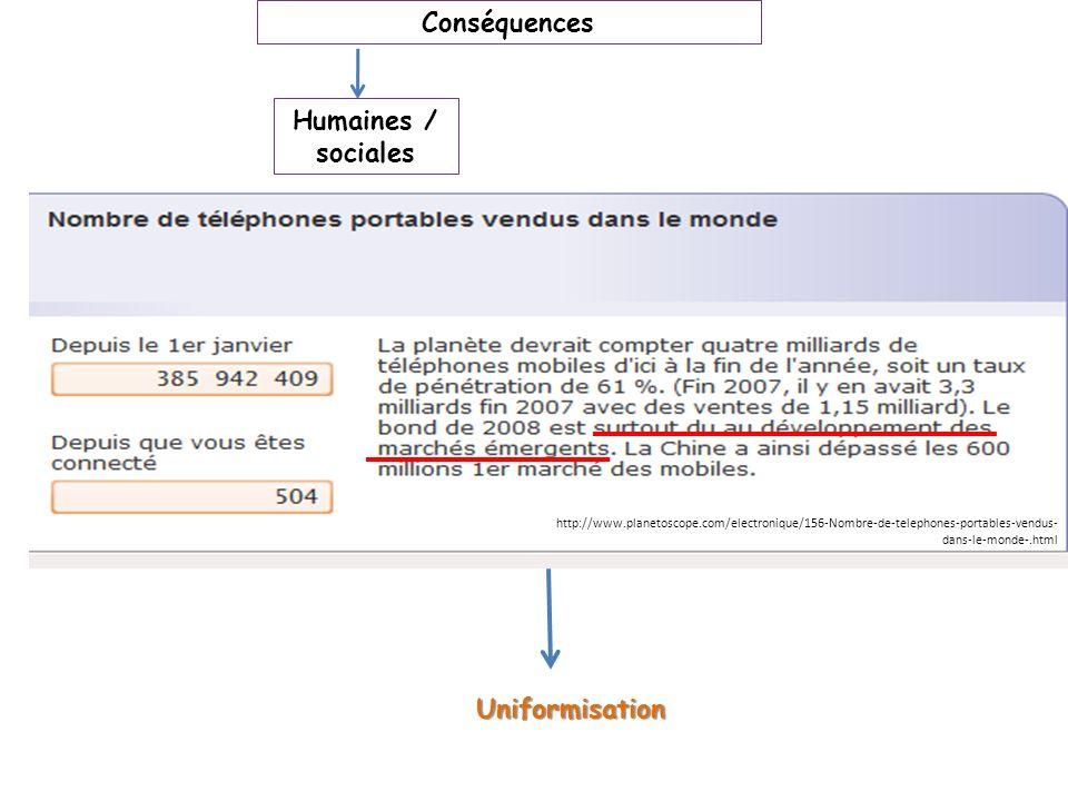 Uniformisation Conséquences Humaines / sociales http://www.planetoscope.com/electronique/156-Nombre-de-telephones-portables-vendus- dans-le-monde-.htm