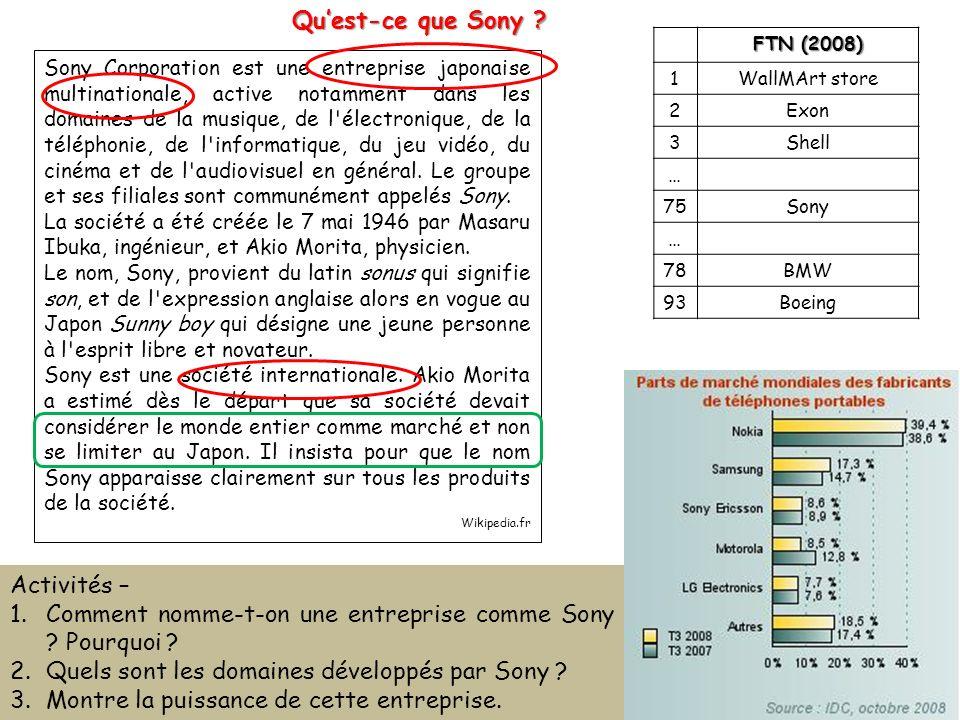 Quest-ce que Sony ? Sony Corporation est une entreprise japonaise multinationale, active notamment dans les domaines de la musique, de l'électronique,