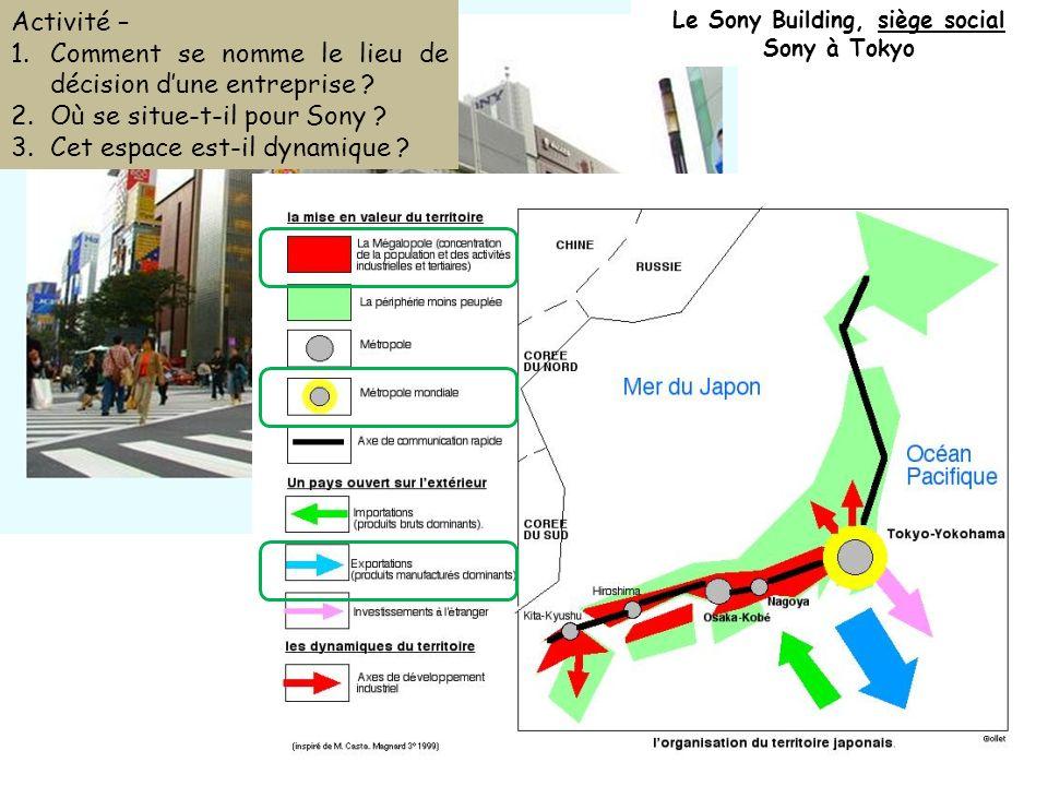 Le Sony Building, siège social Sony à Tokyo Activité – 1.Comment se nomme le lieu de décision dune entreprise ? 2.Où se situe-t-il pour Sony ? 3.Cet e