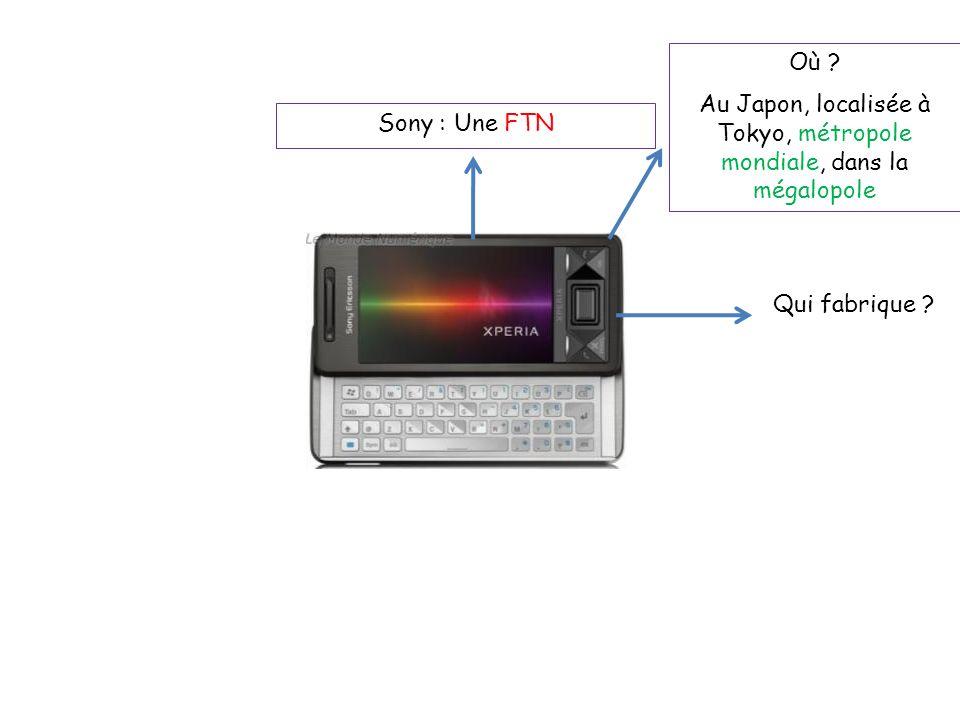 Sony : Une FTN Où ? Au Japon, localisée à Tokyo, métropole mondiale, dans la mégalopole Qui fabrique ?