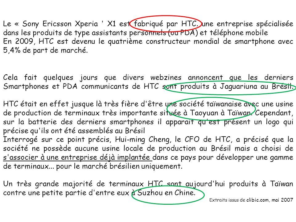Le « Sony Ericsson Xperia ' X1 est fabriqué par HTC. une entreprise spécialisée dans les produits de type assistants personnels (ou PDA) et téléphone