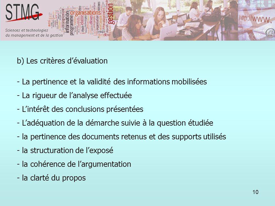 10 b) Les critères dévaluation - La pertinence et la validité des informations mobilisées - La rigueur de lanalyse effectuée - Lintérêt des conclusion