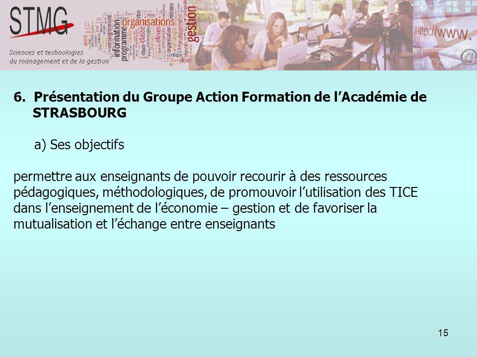 15 6. Présentation du Groupe Action Formation de lAcadémie de STRASBOURG a) Ses objectifs permettre aux enseignants de pouvoir recourir à des ressourc
