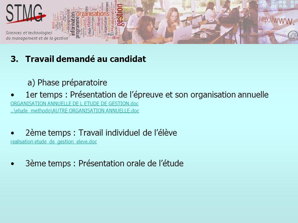 3.Travail demandé au candidat a) Phase préparatoire 1er temps : Présentation de lépreuve et son organisation annuelle ORGANISATION ANNUELLE DE L ETUDE