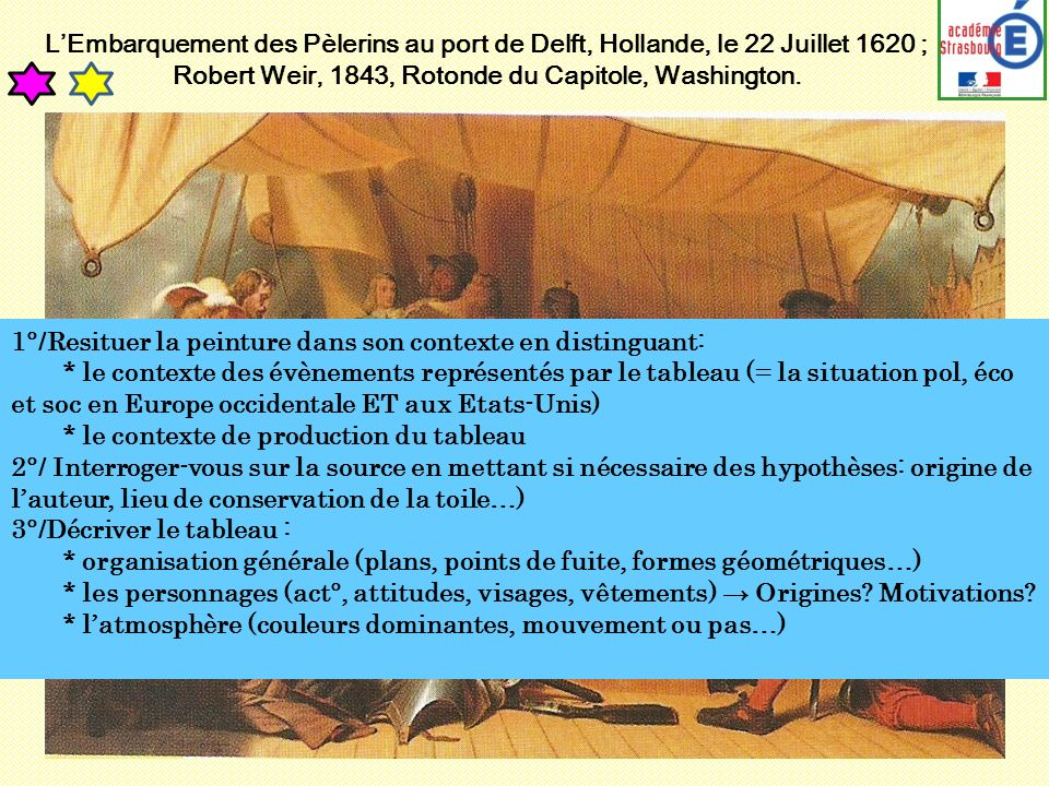 LEmbarquement des Pèlerins au port de Delft, Hollande, le 22 Juillet 1620 ; Robert Weir, 1843, Rotonde du Capitole, Washington. 1°/Resituer la peintur
