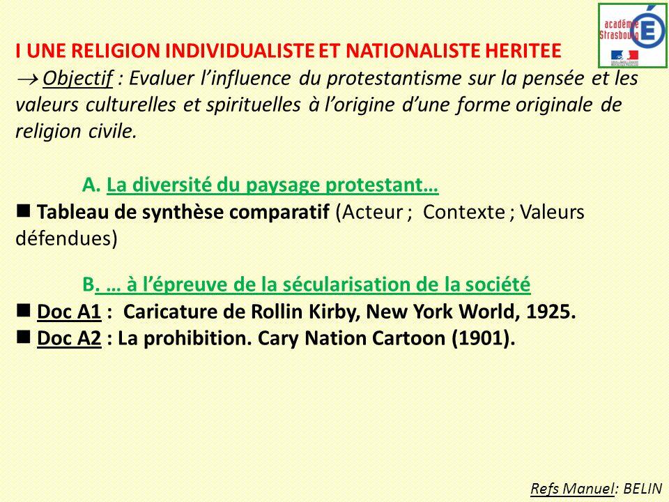 I UNE RELIGION INDIVIDUALISTE ET NATIONALISTE HERITEE Objectif : Evaluer linfluence du protestantisme sur la pensée et les valeurs culturelles et spirituelles à lorigine dune forme originale de religion civile.