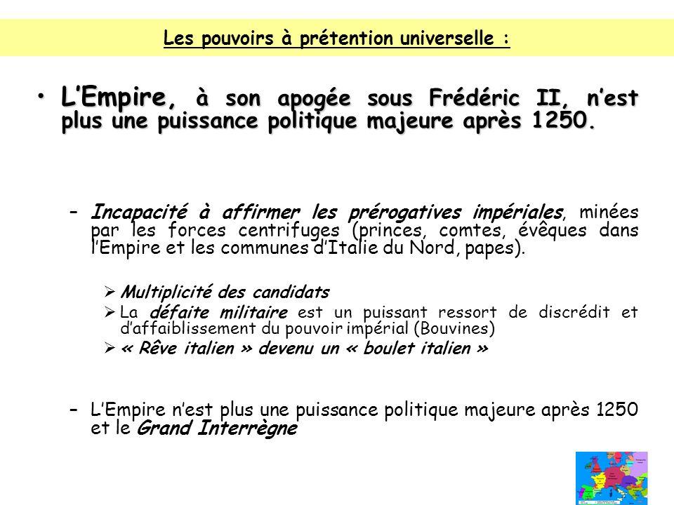 Les pouvoirs à prétention universelle : LEmpire, à son apogée sous Frédéric II, nest plus une puissance politique majeure après 1250.LEmpire, à son ap