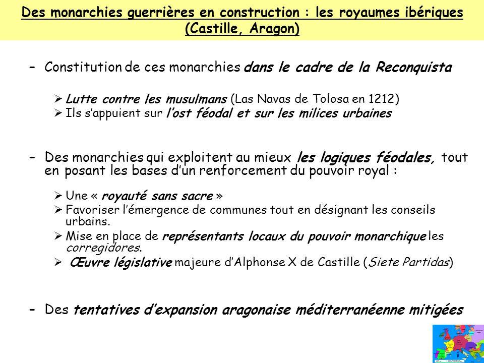 Des monarchies guerrières en construction : les royaumes ibériques (Castille, Aragon) –Constitution de ces monarchies dans le cadre de la Reconquista
