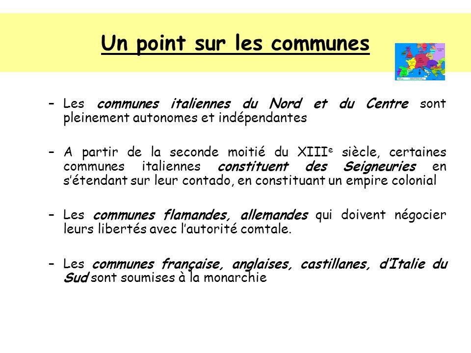 Un point sur les communes –Les communes italiennes du Nord et du Centre sont pleinement autonomes et indépendantes –A partir de la seconde moitié du X