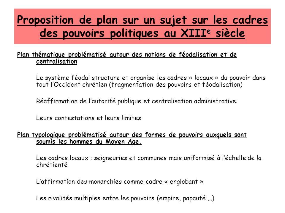 Proposition de plan sur un sujet sur les cadres des pouvoirs politiques au XIII e siècle Plan thématique problématisé autour des notions de féodalisat