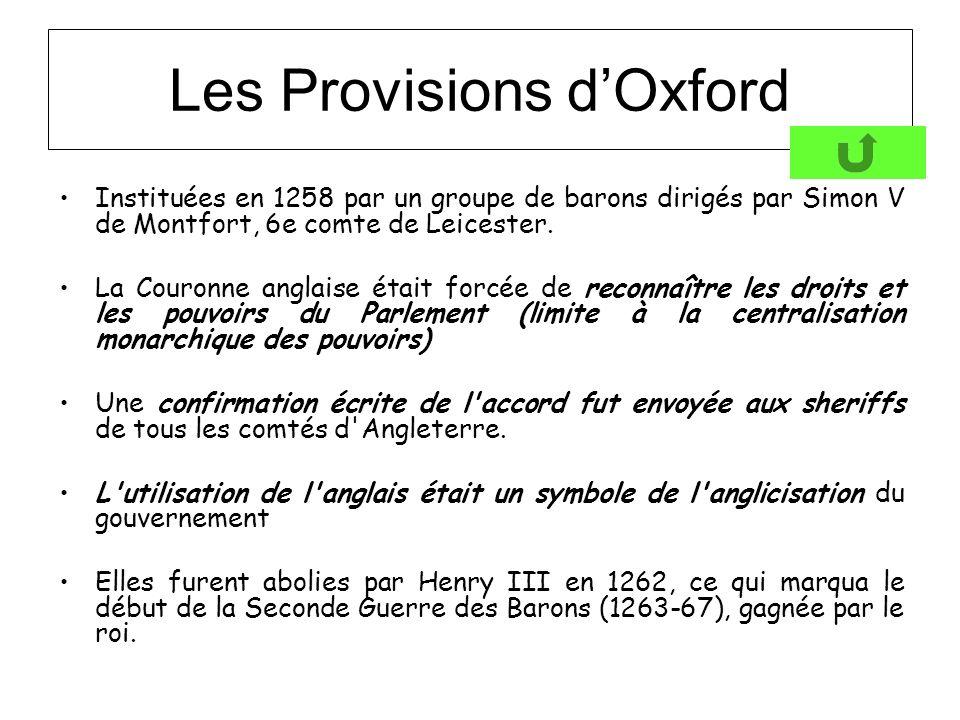 Les Provisions dOxford Instituées en 1258 par un groupe de barons dirigés par Simon V de Montfort, 6e comte de Leicester. La Couronne anglaise était f