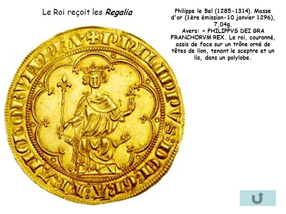 Philippe le Bel (1285-1314). Masse d'or (1ère émission-10 janvier 1296), 7,04g. Avers: + PHILIPPVS DEI GRA FRANCHORVM REX. Le roi, couronné, assis de