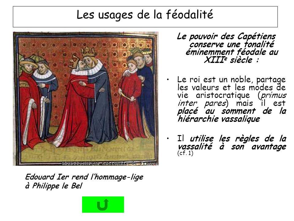 Edouard Ier rend lhommage-lige à Philippe le Bel Le pouvoir des Capétiens conserve une tonalité éminemment féodale au XIII e siècle : Le roi est un no