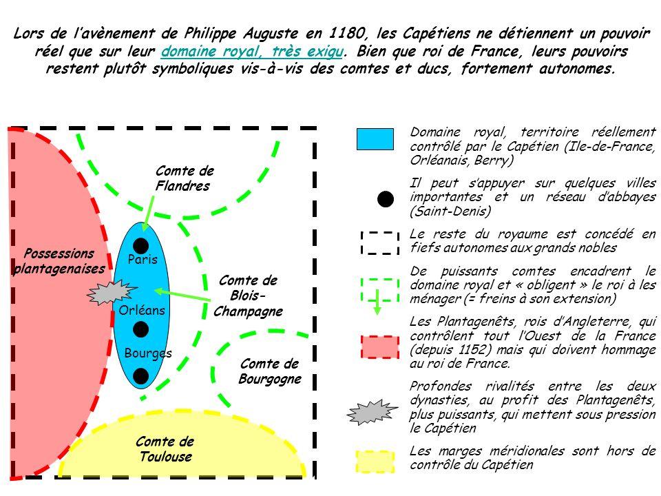 Lors de lavènement de Philippe Auguste en 1180, les Capétiens ne détiennent un pouvoir réel que sur leur domaine royal, très exigu. Bien que roi de Fr