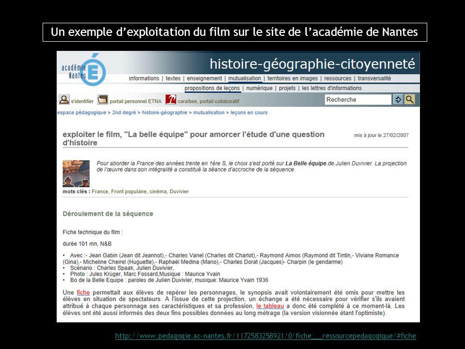 Un exemple dexploitation du film sur le site de lacadémie de Nantes http://www.pedagogie.ac-nantes.fr/1172583258921/0/fiche___ressourcepedagogique/#fi