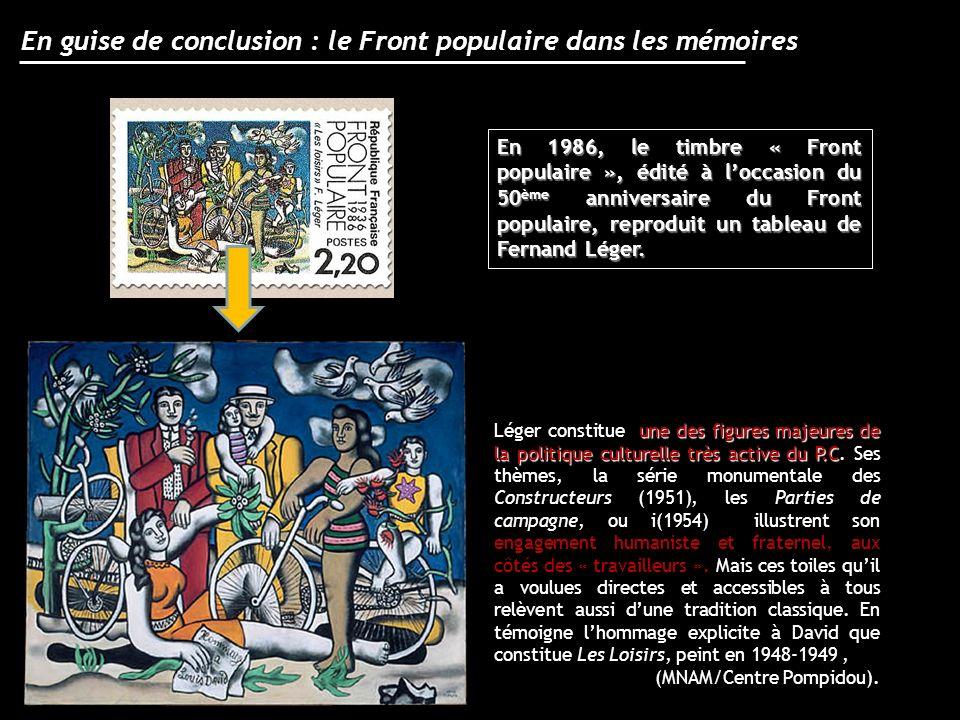 En guise de conclusion : le Front populaire dans les mémoires En 1986, le timbre « Front populaire », édité à loccasion du 50 ème anniversaire du Fron