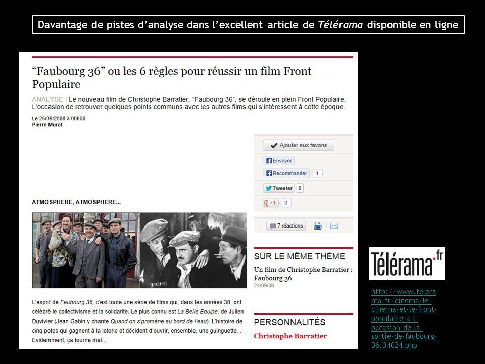 Davantage de pistes danalyse dans lexcellent article de Télérama disponible en ligne http://www.telera ma.fr/cinema/le- cinema-et-le-front- populaire-