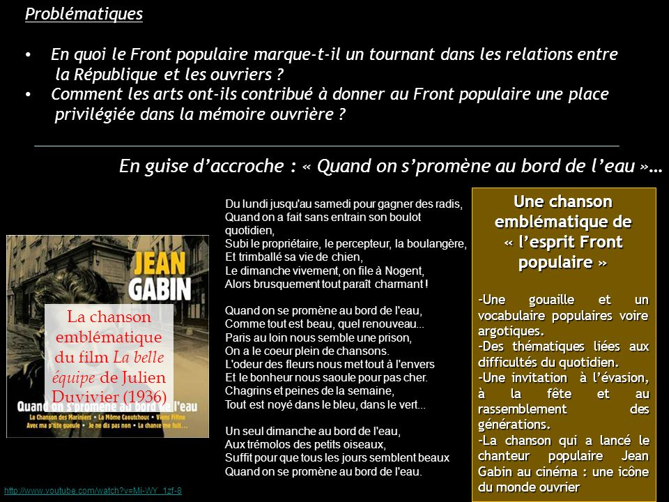 http://www.youtube.com/watch?v=IY8nBdcTXr4 A l occasion du cycle consacré à Julien Duvivier, Jean-François Rauger, directeur de la programmation de la Cinémathèque française présente le film La Belle équipe.