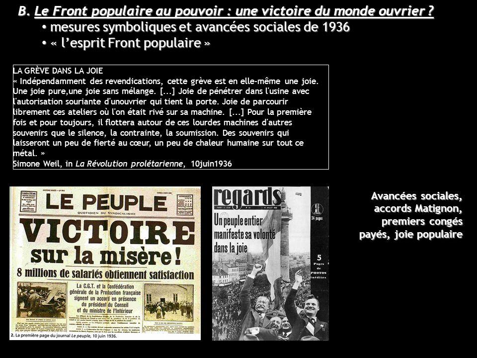 B. Le Front populaire au pouvoir : une victoire du monde ouvrier ? mesures symboliques et avancées sociales de 1936 mesures symboliques et avancées so