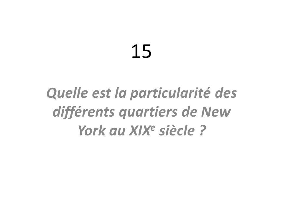 15 Quelle est la particularité des différents quartiers de New York au XIX e siècle ?