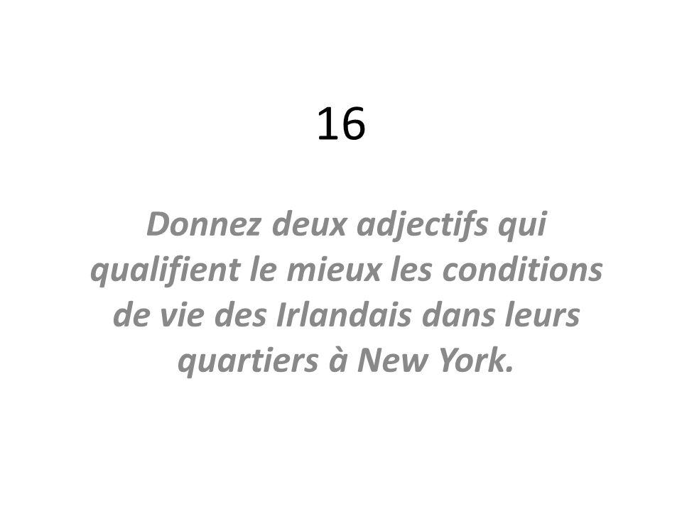 16 Donnez deux adjectifs qui qualifient le mieux les conditions de vie des Irlandais dans leurs quartiers à New York.