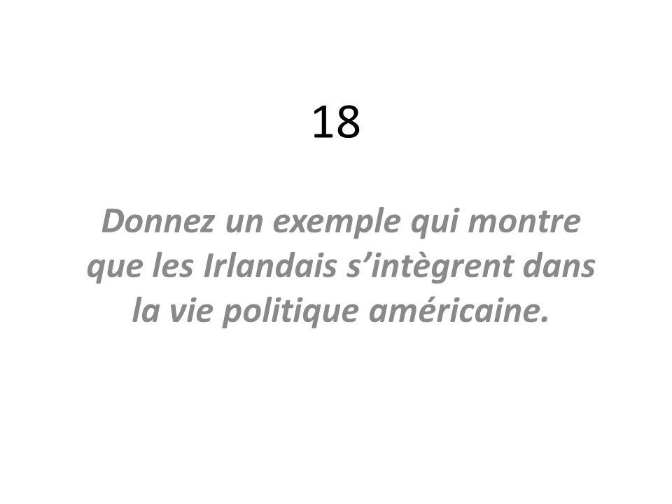 18 Donnez un exemple qui montre que les Irlandais sintègrent dans la vie politique américaine.
