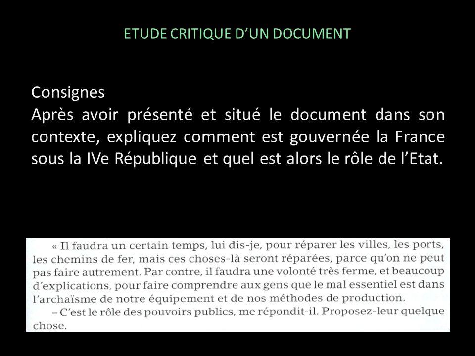 Consignes Après avoir présenté et situé le document dans son contexte, expliquez comment est gouvernée la France sous la IVe République et quel est al