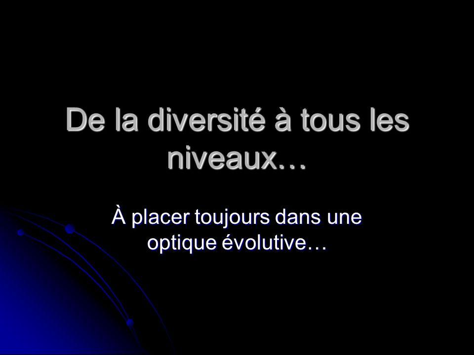De la diversité à tous les niveaux… À placer toujours dans une optique évolutive…