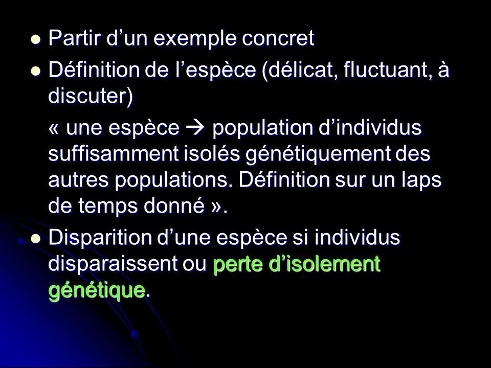 Partir dun exemple concret Partir dun exemple concret Définition de lespèce (délicat, fluctuant, à discuter) Définition de lespèce (délicat, fluctuant, à discuter) « une espèce population dindividus suffisamment isolés génétiquement des autres populations.